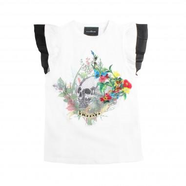 Richmond T-shirt bambina bianca rouches by John Richmond Kids rgp19012ts19rich19