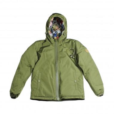 80db Original Giubbotto verde con auricolari e cappuccio per bambino kasper-26-army