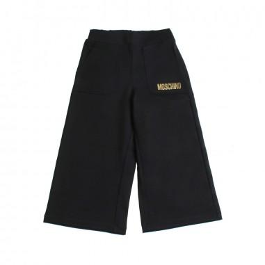 Moschino Kids Girls wide black cotton trousers by Moschino Kids HDP035-60100-LJA03