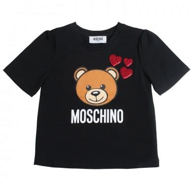 Moschino Kids Girl black teddy t-shirt by Moschino Kids HDM02U-60100-LBA10