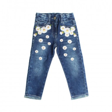 Monnalisa Girls stretch daisies blue jeans by Monnalisa 193400R119-19-0055monna19