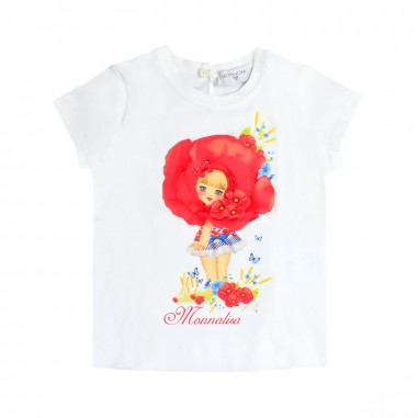 Monnalisa T-shirt papavero bianca bambina by Monnalisa 313605SD19-19-0099monna19