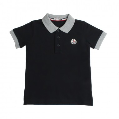 Moncler Boys black piqué polo shirt Kids 83078508496w999mo19