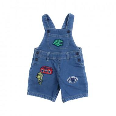 Kenzo Blue denim dungaree shorts w/appliqué by Kenzo Kids KN2150746kenzo19