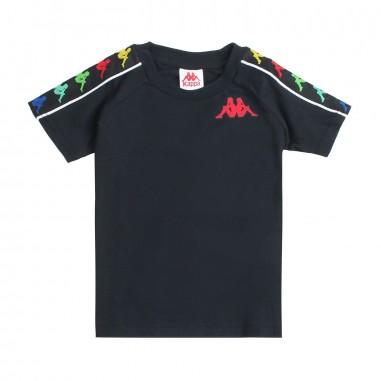 Kappa Kids T-shirt nera cotone bande logate per bambini - Kappa Kids 304ked0a49kappa19