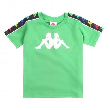 Kappa Kids T-shirt verde con logo e bande per bambini - Kappa Kids 304kef0a55kappa19