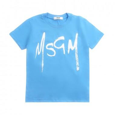 MSGM Unisex turquoise jersey t-shirt by MSGM Kids 01861512019msgm19