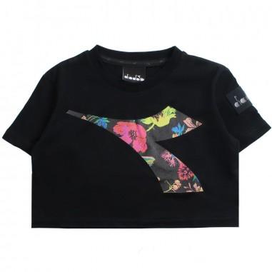 Diadora Girl black logo cropped t-shirt by Diadora Kids 1967011019diadora19