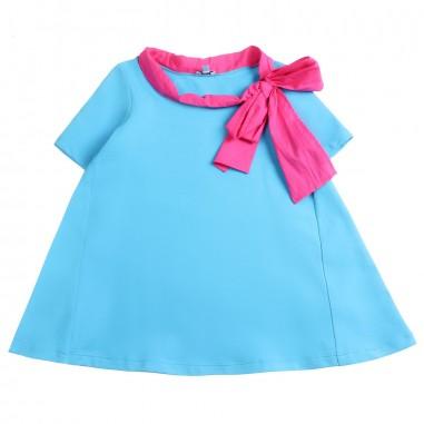 Piccola Ludo Girls turquoise stretch dress by Piccola Ludo bf4wb025tes0322t005picc19