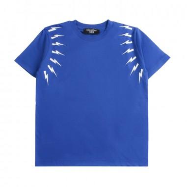 Neil Barrett Kids T-shirt blu fulmini bambino by Neil Barrett Kids 018628130neil19