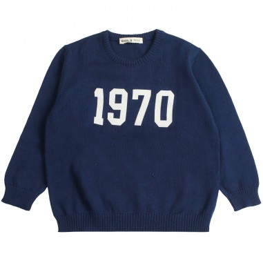 Babe&Tess Boys blue cotton knitted sweater - Babe&Tess kt04onemore19