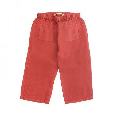 Babe&Tess Pantalone largo lino rosso bambina - Babe&Tess li04onemore19