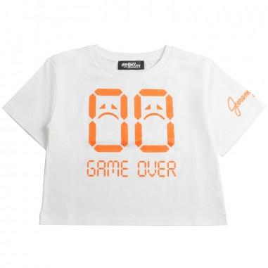 Jeremy Scott Kids Girls white cropped t-shirt by Jeremy Scott Kids j4m001lba0010101