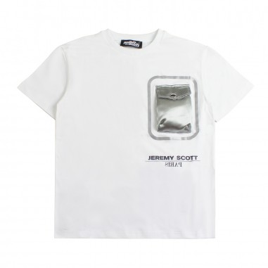 Jeremy Scott Kids White cotton t-shirt w/pocket by Jeremy Scott Kids j5m000lba0010101