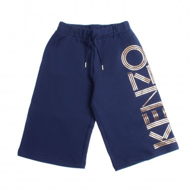 Kenzo Blue wide cotton bermuda shorts by Kenzo Kids KN2500849kenzo19