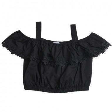 Monnalisa Girls black cotton gala top by Monnalisa 17330319-19-0050monna19