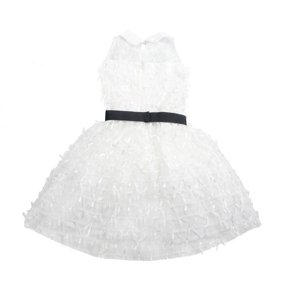 timeless design 1467a fa84a Abito bianco smanicato bambina cerimonia