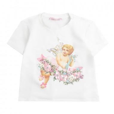 PM Paola Montaguti Kids Girls graphic studded t-shirt s714paola19