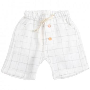 Petit Indi Baby boys linen checked bermuda shorts 3009petit19