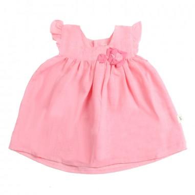 Petit Indi Baby girls pink linen dress 323petit19