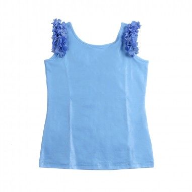 Monnalisa Girls blue sparkly sleeveless t-shirt by Monnalisa 17360819-19-0053monna19