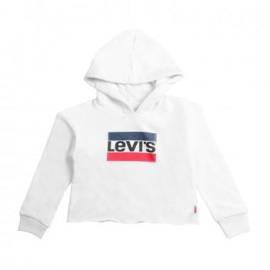 Levi's Felpa bianca cropped per bambina mystery by Levi's Kids nn1551711levis19