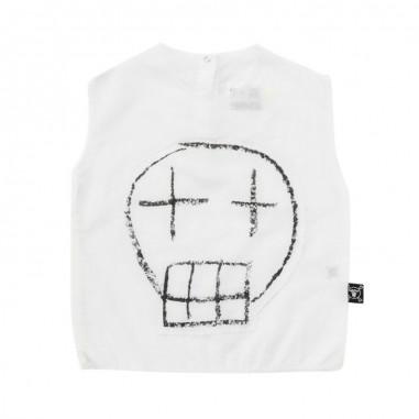 Nununu Kids unisex white sketch skull patched voile by Nununu nu2116nununu19