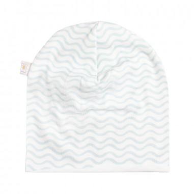 Filobio white & azure patterned baby hat by Filobio andreato29azzfilo19