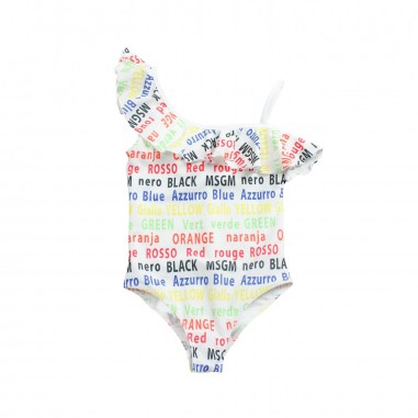 MSGM Girls white logo lycra swimsuit by MSGM Kids 01905919msgm19