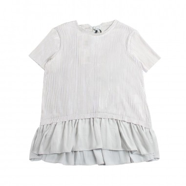 Caffè d'Orzo Girl white pleated t-shirt by Caffè d'orzo rosa19caffe