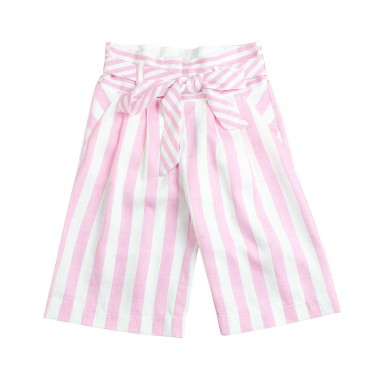 Monnalisa Girl pink striped linen trousers by Monnalisa 17341319-19-0193monna19