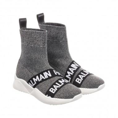 Balmain Kids Sneaker alta lurex con logo per bambina by Balmain Kids 6L0006LX-280926balmain29