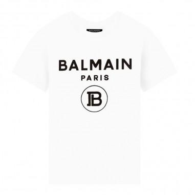 Balmain Kids T-shirt bianca con logo per bambini by Balmain Kids 6L8581LX-160100NEbalmain29