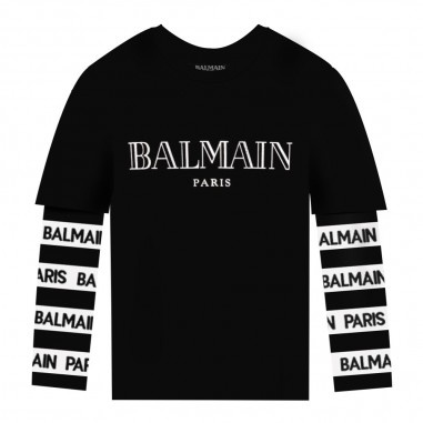 Balmain Kids T-shirt nera logo per bambini by Balmain Kids 6L8510LX-150930balmain29