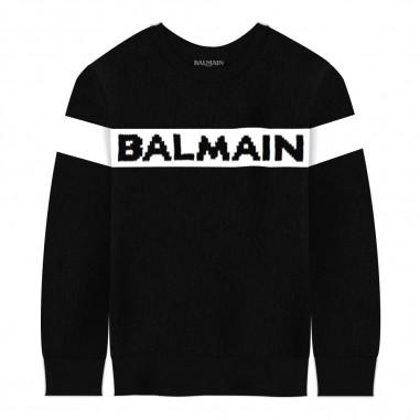 Balmain Kids Maglia nera con logo per bambino by Balmain Kids 6L9510LA-510930balmain29