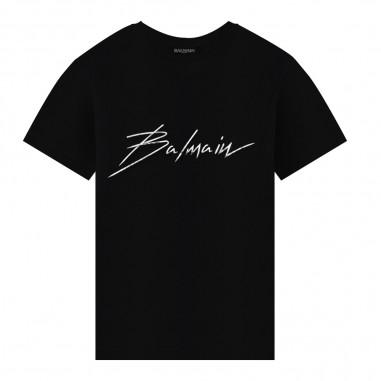 Balmain Kids Unisex black logo t-shirt by Balmain Kids 6L8541LX-160930AGbalmain29