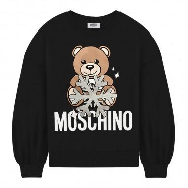 Moschino Kids Felpa nera logo neve per bambini by Moschino Kids hdf027-lda1460100mosch29
