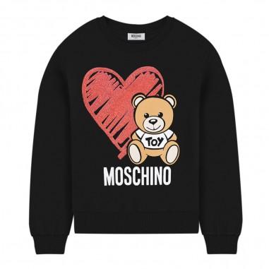 Moschino Kids Felpa nera logo bambina by Moschino Kids hdf026-lda1660100mosch29