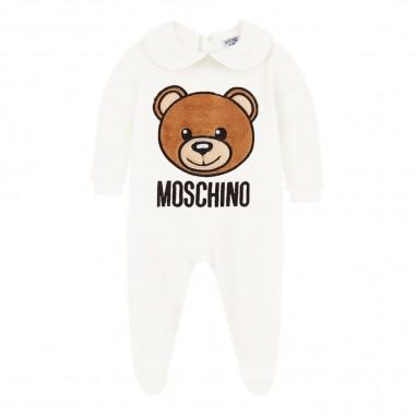 Moschino Kids Cream chenille teddy babysuit by Moschino Kids muy02a-lga0410063mosch29