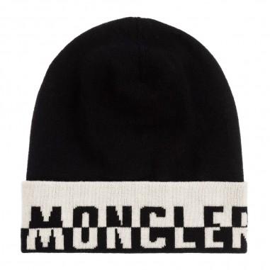 Moncler Black wool logo hat by Moncler Junior 9549924-000a9195999moncler29