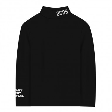 GCDS mini Black polo neck top by GCDS Kids 020490-110gcds29