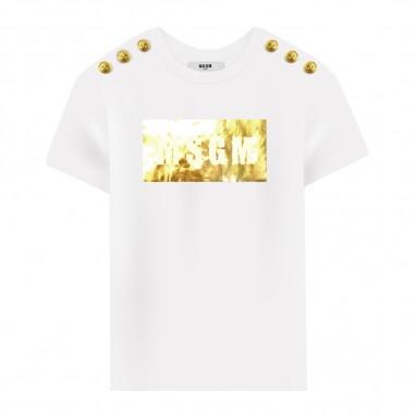 MSGM T-shirt bianca box logo bambina by MSGM Kids 20681-001msgm29