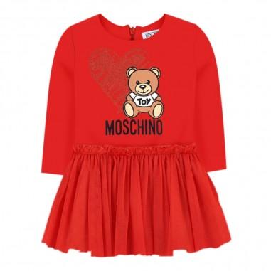 Moschino Kids Abito rosso logo strass neonata by Moschino Kids mdv07i-lda1650109mosch29