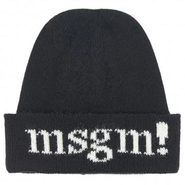 MSGM Cuffia nera bambina in lana con logo MSGM Kids 20997-110msgm29