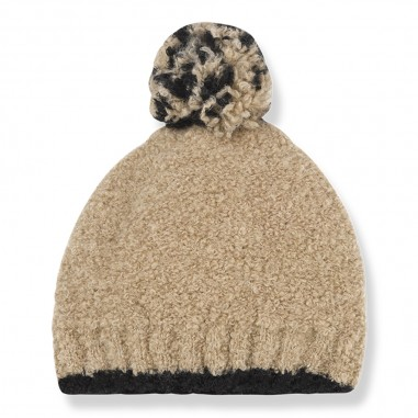1+ In the Family Beige wool baby hat w/pompon by OneMoreInTheFamily lausanne-beigeonemore29