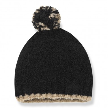 1+ In the Family Black wool baby hat w/pompon by OneMoreInTheFamily lausanne-blackonemore29