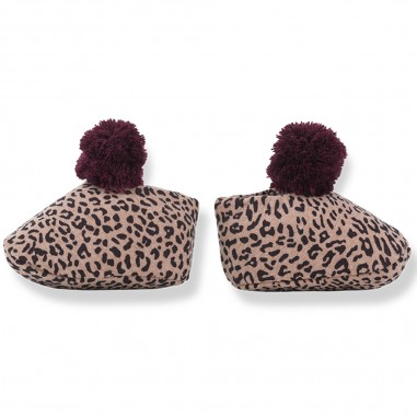 1+ In the Family Rose & burgundy leopard print baby shoes w/pompon by OneMoreInTheFamily edam-roseburgundyonemore29