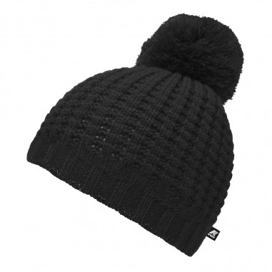 K-Way Unisex black pompon hat vincienne waffle stitch by K-Way Kids k00brj0-k02kway29