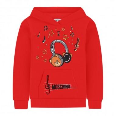 Moschino Kids Felpa rossa cappuccio Moschino Kids huf02y-lda17redmosch29