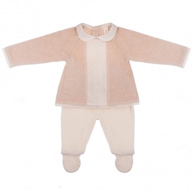 Natura Pura Completo blusa e pantaloni velour neonata BB20W-045-naturapura29